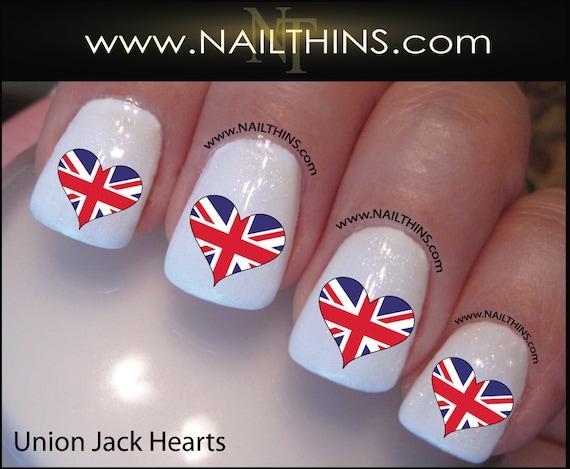 British Nail Decal Union Jack Flag Heart Nail Art Nailthins Etsy