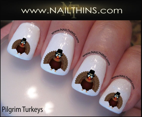 Thanksgiving Nail Decals Turkey Nail Art By Nailthins