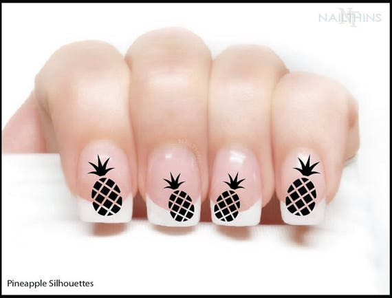 image 0 - Pineapple Nail Decal Silhouette Style Pineapple Nail Wrap Nail Etsy