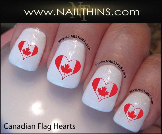 Canadian Flag Nail Decal Heart Nail Design Nailthins Not Etsy