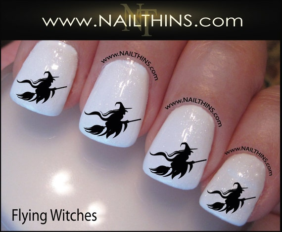 Witch Nail Decal Halloween Flying Witch On Broom Nail Art Nail Etsy