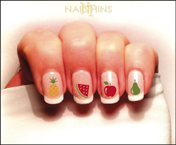 Fruit Nail Decal Pineapple Watermelon Apple Ect Set 1 Color Etsy