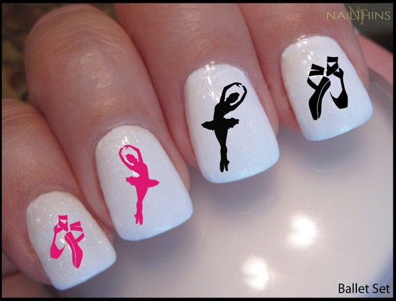Ballerina Nail Decal Ballet Silhouette Nailthins Pointe Shoe Etsy