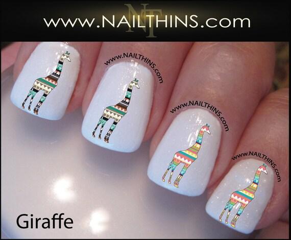 Tribal Giraffe Nail Decal Nail Art Nail Designs Nailthins Etsy