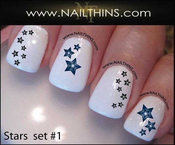 Star Nail Decal Set 1 Stars Nail Art Designs Nailthins Etsy