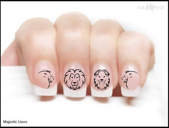 Lion Nail Decal King Of The Jungle Nail Wraps Lions Nail Art Etsy