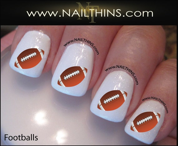 Football Nail Decal Sports Nail Art Football Nail Stickers By Etsy