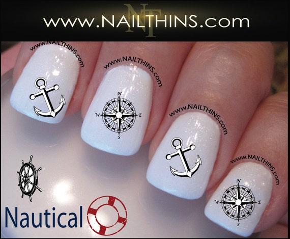 Nautical Nail Decals Anchor Wheel Compass Rose Nail Art Etsy