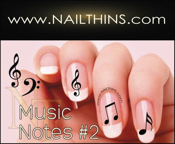 image 0 ... - No 2 Music Note Nail Decal Musical Notes Nail Design NAILTHINS Etsy