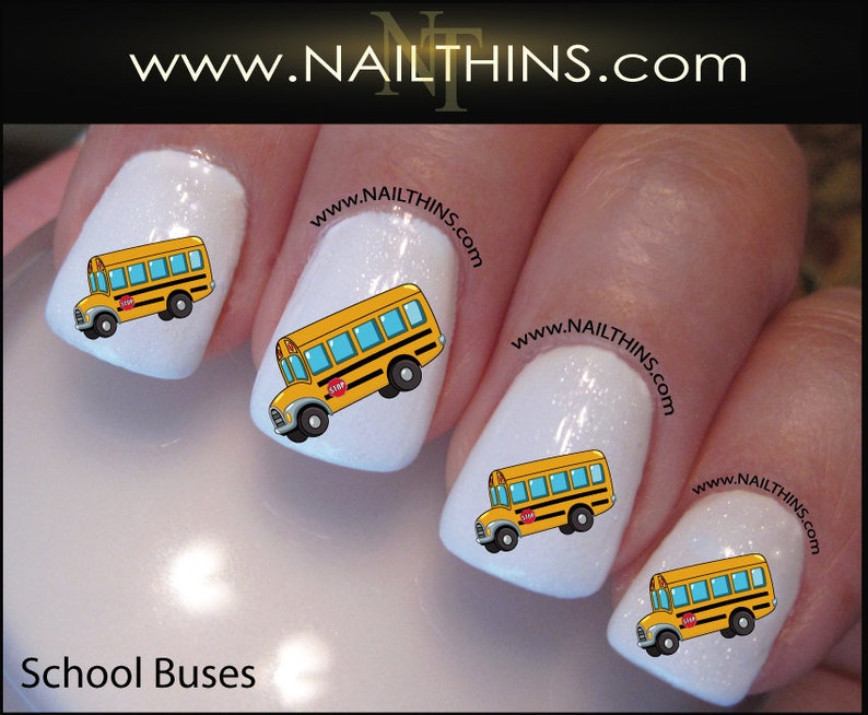 School Bus Nail Decal Bus Driver Nail Art Design nail wraps   Etsy