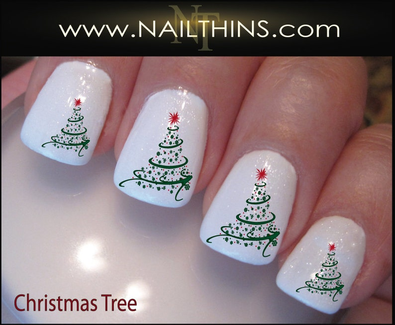 Christmas Swirl Nail Decals Holiday Tree Nail Design Nail Art Etsy