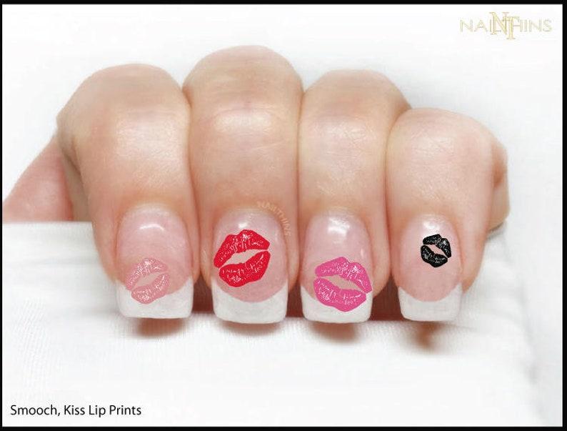 Kiss Lip Print Nail Decal Smooch Nail Wrap Nail Art Lips Etsy