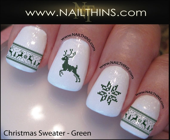 Nordic Christmas Sweater Nail Decals In Green Christmas Nail Etsy