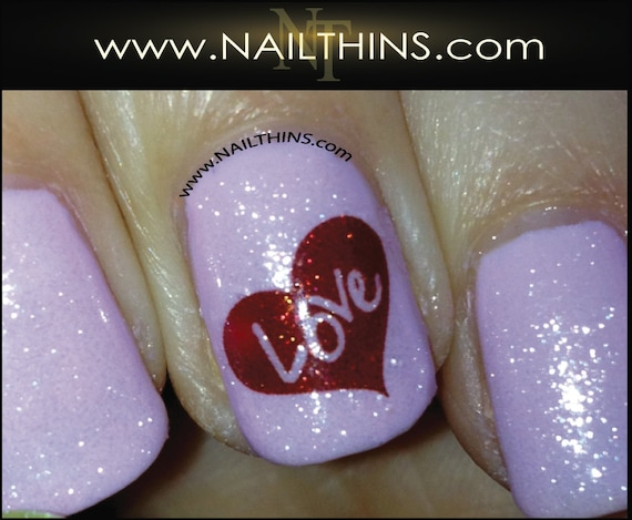 Signature Hearts Nail Decals Love Nail Designs By Nailthins Etsy