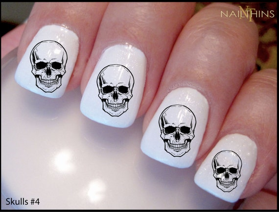 Skull Nail Decal Skulls Nail Art Bones Halloween Set 4 Etsy