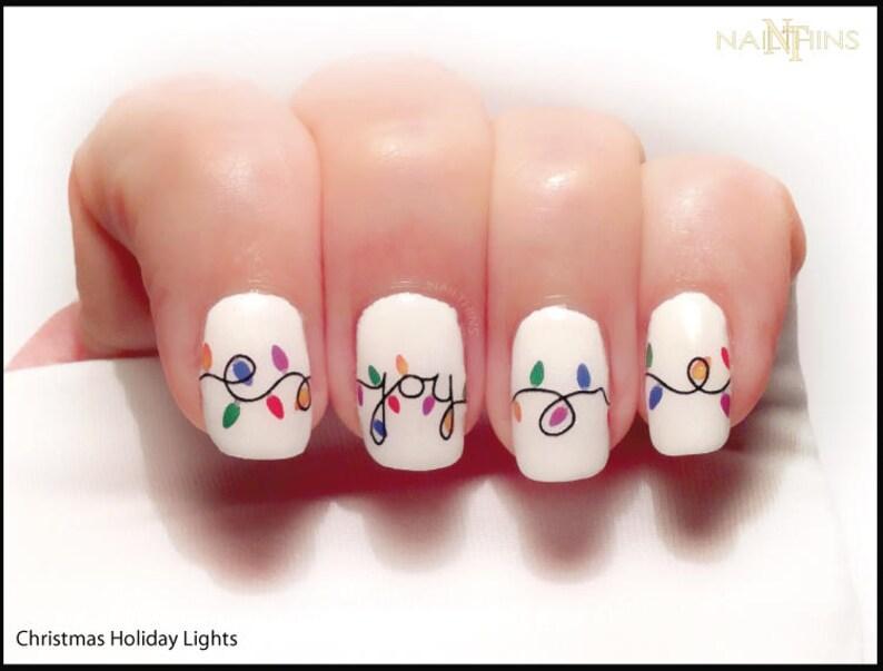 Christmas Lights Nail Decal Holiday Joy Noel nail art by | Etsy