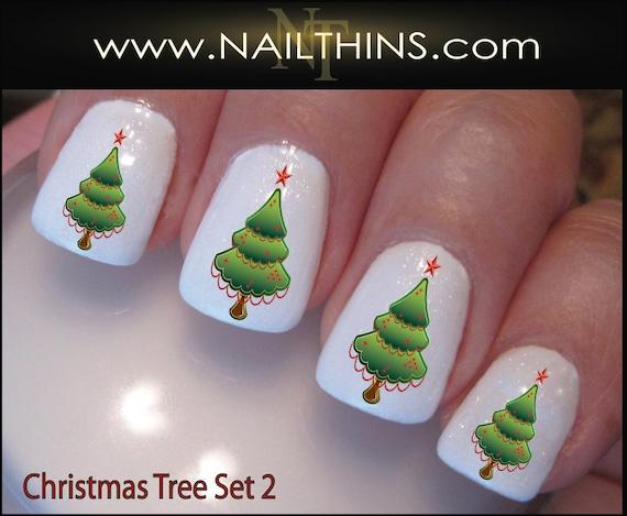 image 0 - Christmas Tree Nail Decals Set 2 Holiday Tree Nail Design Etsy