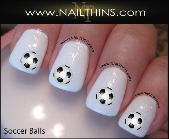 Soccer Nail Decal Soccer Ball Nail Art Sport Fan Soccer Nail Etsy