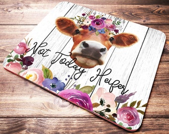 office desk decor. Funny Quote Mouse Pad, Not Today Heifer, Office Desk Accessories, Cow Gifts  For Her, Decor, Mousepad, Decor Office Desk Decor