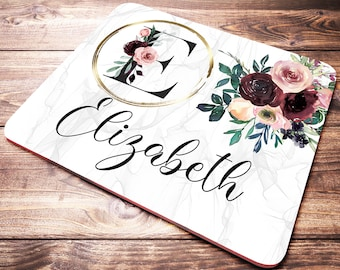 Personalized Letter Mouse Pad, Office Gifts For Women, Name Mouse Pad, Personalized Desk Gift, Initial Mouse Pad, Floral Office Supplies