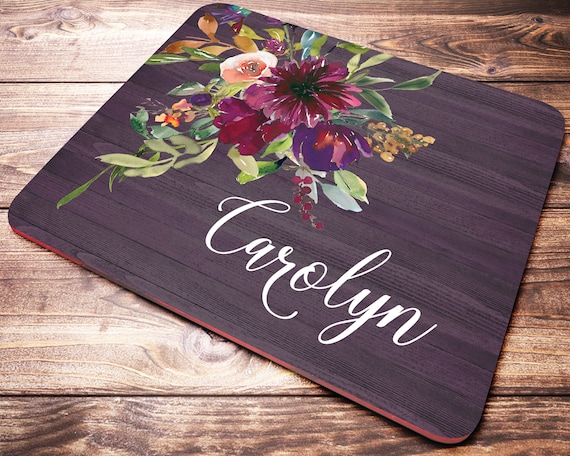 Floral Personalized Name Mouse Pad Purple Flowers Desk Accessories for Women
