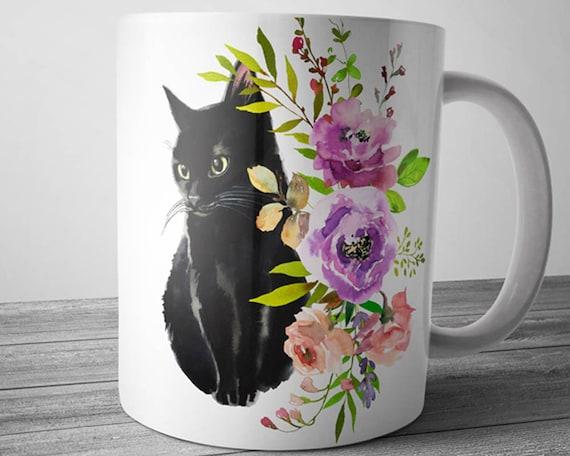 Black Cat Mug Etsy