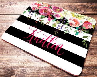 Personalized Office Gift, Striped Mouse Pad, Black and White, Desk Accessories For Women, Name Mouse Pad, Floral Mouse Pad, Name Gifts