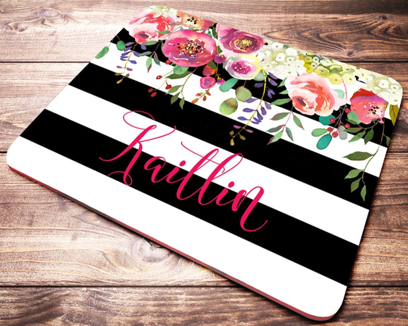 Personalized Office Gift Striped Mouse Pad Black and White image 1