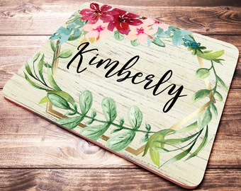 Personalized Desk Accessories, Name Mouse Pad, Coworker Gift, Desk Decor, Personalized Office Supplies, Floral Mouse Pad, Personalized Gift