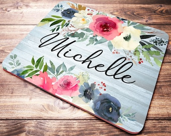 Personalized Desk Accessories, Custom Name Mouse Pad, Floral Desk Decor, Personalized Office Supplies, Office Desk Accessories for Women
