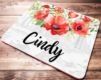 Personalized Desk Accessories, Poppies Mouse Pad, Coworker Gift, Desk Accessories For Women, Personalized Office Gift, Floral Mouse Pad