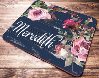 Desk Accessories for Women, Personalized Mouse Pad, Floral Mouse Pad, Desk Decor, Personalized Gift, Office Desk Accessories, Gift Women