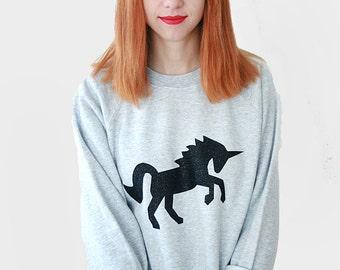 Black Glitter Unicorn Sweater