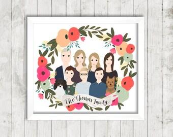 Custom Portrait Illustration| Floral Wreath | Couple Illustration | Family Portrait | Gift Idea | Hand Illustrated | Wedding Gift