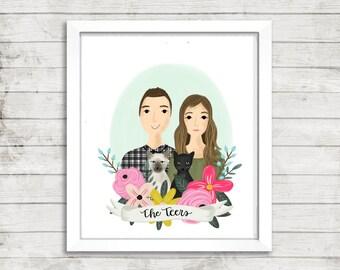 Custom Portrait Illustration| Hand Illustrated | Floral Wreath | Gift Idea | Wedding | Anniversary | Hand Lettered | Couple Gift | Wall Art