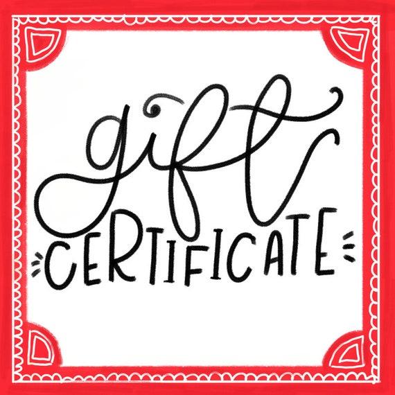 gift certificate custom illustration custom family etsy