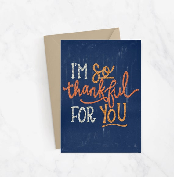 Im So Thankful For You Greeting Card Fall Card Thanksgiving Card Hand Lettered Card Snail Mail Fall Greetings Autumn Card