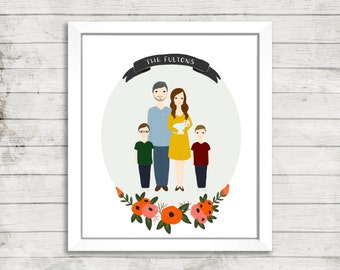 Custom Family Portrait Illustration | Full Body | Hand Illustrated | Floral Wreath | Wedding Gift | Anniversary Gift | Personalized Gift