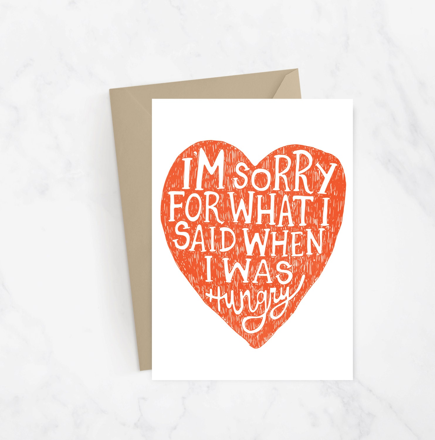 Im Sorry For What I Said When I Was Hungry Greeting Card Etsy