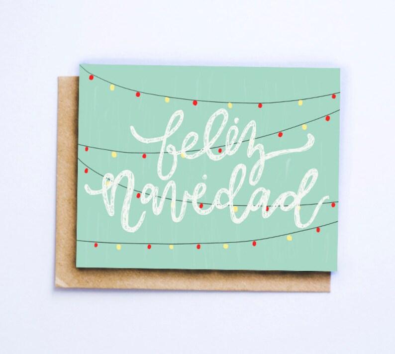 Christmas Card Greeting Idea.Feliz Navidad Christmas Card Greeting Card Holiday Card Merry Christmas Hand Lettered Gift Idea Snail Mail Illustrated Card