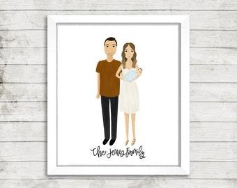 Custom Personalized Full Portrait Illustration | Family Portrait Illustration | Couple Portrait | Wedding Gift | Gift Idea | Engagement