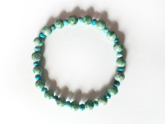 Mother/'s Day Gift for Mom Aqua Amazonite Personalized Gift For Her Natural Stone Bracelet Gift for Self Bridesmaid Gift