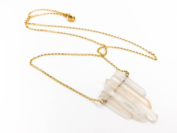 Everyday necklace 36.5 Ct Raw crystal Square Quartz Necklace Unique gifts for women Geometric Stone Necklace 14K Yellow Gold Vermeil Chain