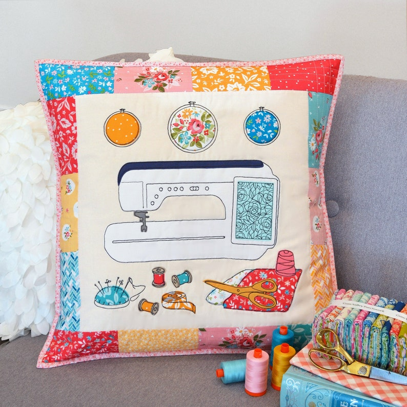 Happy Sewing Cushion & Mini Quilt PDF Pattern image 0