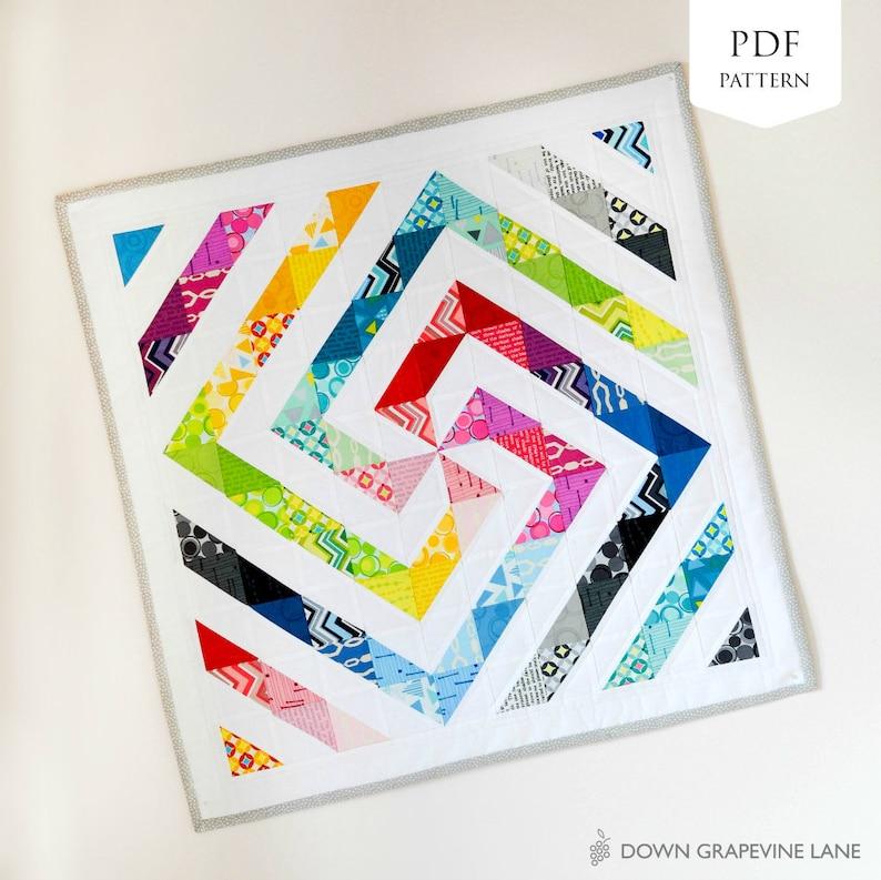 Rainbow Swirl Mini Quilt PDF Pattern image 0