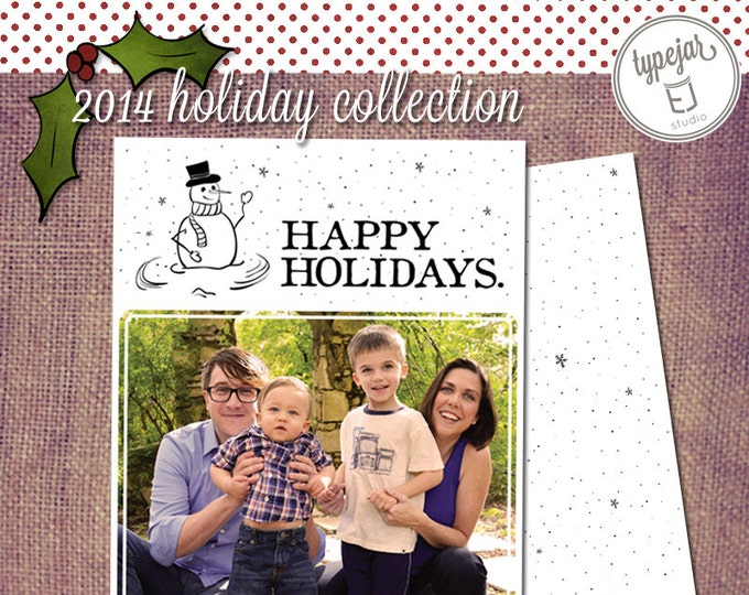 Printable Hand Drawn Snowman Family Photo Greeting (5 x 7 inch Digital File, Printing Available)