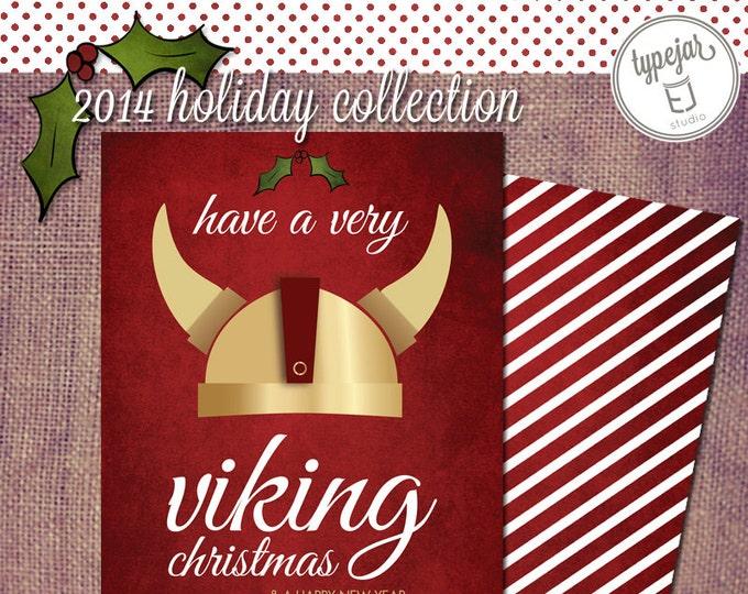 Viking Warrior Holiday Christmas Greeting Card