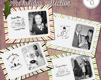 25 Pack Mounted Vintage Style Hand Drawn Christmas Holiday Photo Greeting Red Gold Green Black (7 x 5 inch Card)