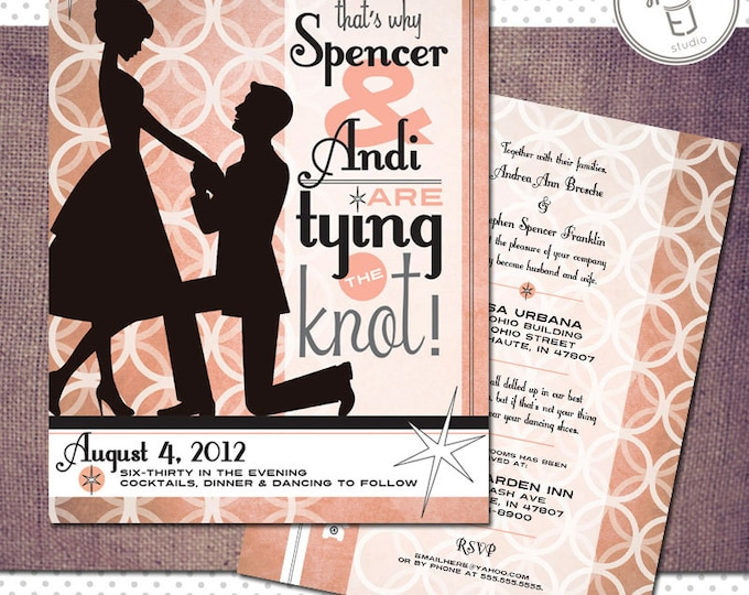 Printable Vintage Modern Style Wedding Invitation (4 x 6 inch Digital File, Printing Available)