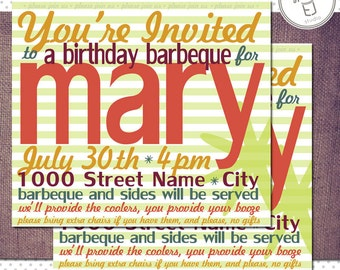 Printable Summer Birthday Invitations with Cool Color Scheme (5 x 7 inch Digital File, Printing Available)